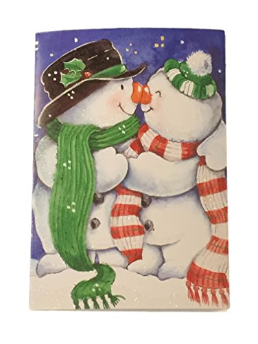 Boxed Christmas Cards Snowman - Holiday Boxed Christmas Cards Set of 28 - Variety to Choose From (Kissing Snowman & Snowgirl)