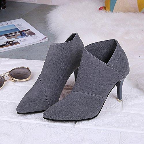 pour Femmes Femmes Point Fitted Chaussures Dames Haut Hiver Chaussures Femmes Bottes Chaussures Simple Yesmile Femmes Femmes Toe Gris Automne Talon xqwqUST