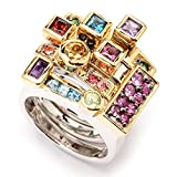 Michael Valitutti Palladium Silver ''Manhattan Stack'' Set of Four Gemstone Stack Band Rings