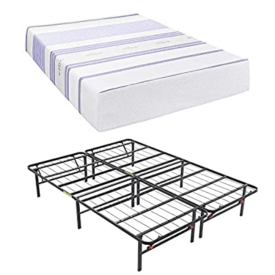 Classic Brands Platform Metal Bed Frame, Use as Box Spring or Foundation (Renewed)