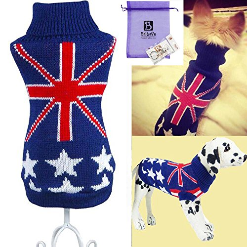 Bolbove Pet Flag Turtleneck Sweater for Small Dogs & Cats Knitwear (X-Small) (Cats In Outfits)