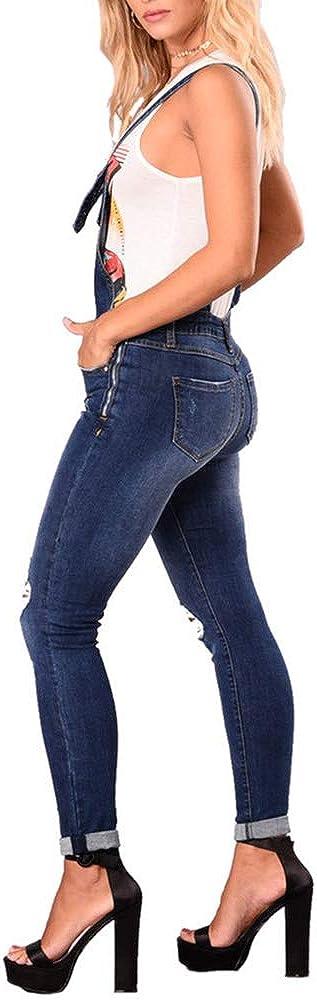 Lang Denim Overall Jeanshosen Skinny Blau Jumpsuit Slim Fit Playsuit Bmeigo Damen Latzhosen Jeans