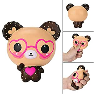 Clearance !!! Squishies Slow Rising Jumbo Kawaii Cute Glasses Bear Creamy Scent for Kids Party Toys Stress Reliever Toy (colorful)