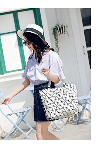 Bucket Plaid Women Folding Bag Silver Geometry Hand Tote Brown Sequins Bag Small Shoulder Casual Laser Small Bags Mirror URwXgw7q