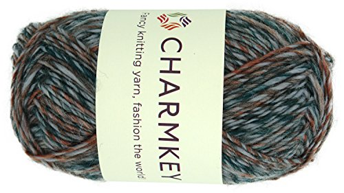 Charmkey Wool Origin Yarn Super Soft 4 Worsted Thick Acrylic Wool Blend 4-ply Natural Alpaca Tweed Baby Knitting Yarn for Garment Scarf Hat and Craft Project, 1 Skein, 3.53 Ounce (Gray Flamingo) Baby Wool 4 Ply