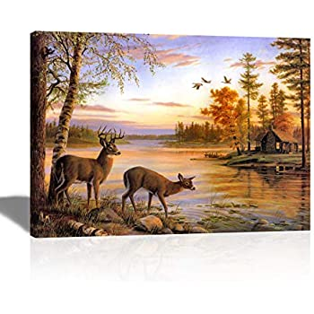 A Cup of Tea Animal Deer Canvas Print Nature Wild Life Landscape Picture Wall Art Wall Hanging Harmony River Tree Beautiful Decoration for Living Room Bedroom Kitchen Office Home Decor 12x16 in Framed
