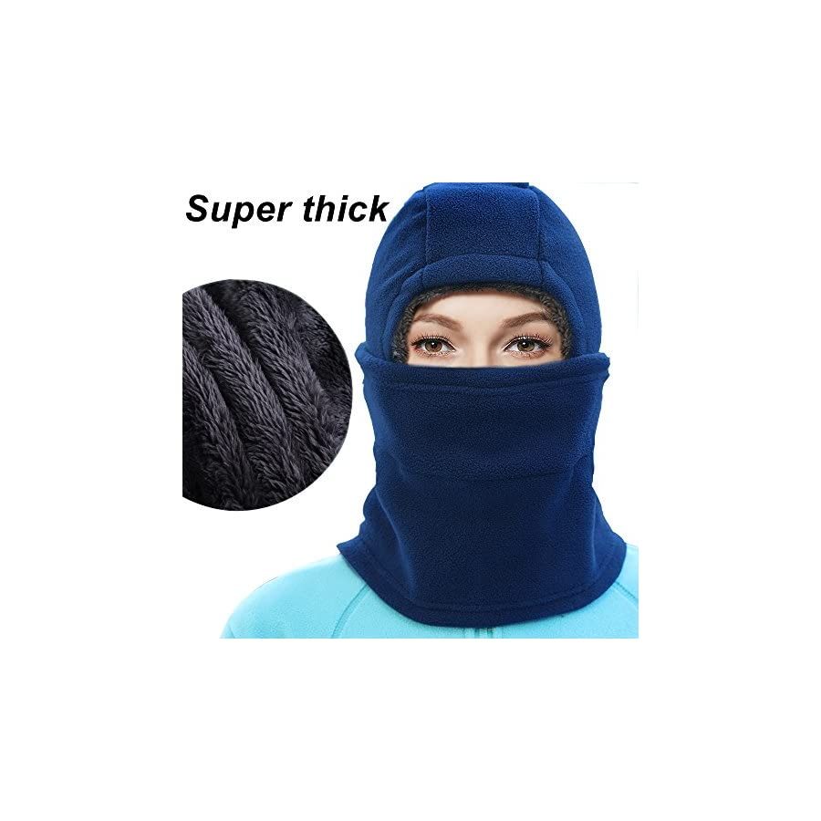 SYQ Super Thick Adjustable Lightweight Soft Balaclava Scarf Winter Windproof Ski Face Mask for Men/Women/Kids,Cold Weather Fleece Hat/Hood Neck Warmer for Skiing Cycling Motorcycle Outdoor Sport
