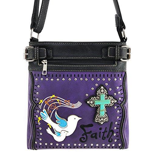 Justin West Dove Faith Western Turquoise Rhinestone Cross Messenger Handbag Purse (Purple - Messenger Dove