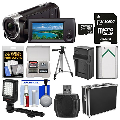 Sony Handycam HDR-CX405 1080p HD Video Camera Camcorder with 64GB Card + Hard Case + LED Light + (Video Sony Camera)