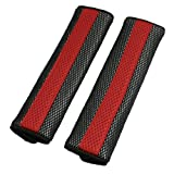uxcell Motor Detachable Fastener Red Black Seatbelt Cover Pad Pair