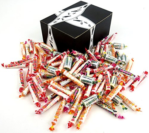 Smarties Candy Rolls 4-Flavor Variety: One 2 lb Assorted Bag of Candy Rolls, Tropical Candy Rolls, X-TREME Sour Rolls, and Candy Money Rolls in a BlackTie Box