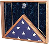 Burial Flag, Military Medal & Award Display Case - Shadow Box for 5x9.5 Burial / Coffin flag (Navy Emblem / Blue Velvet)