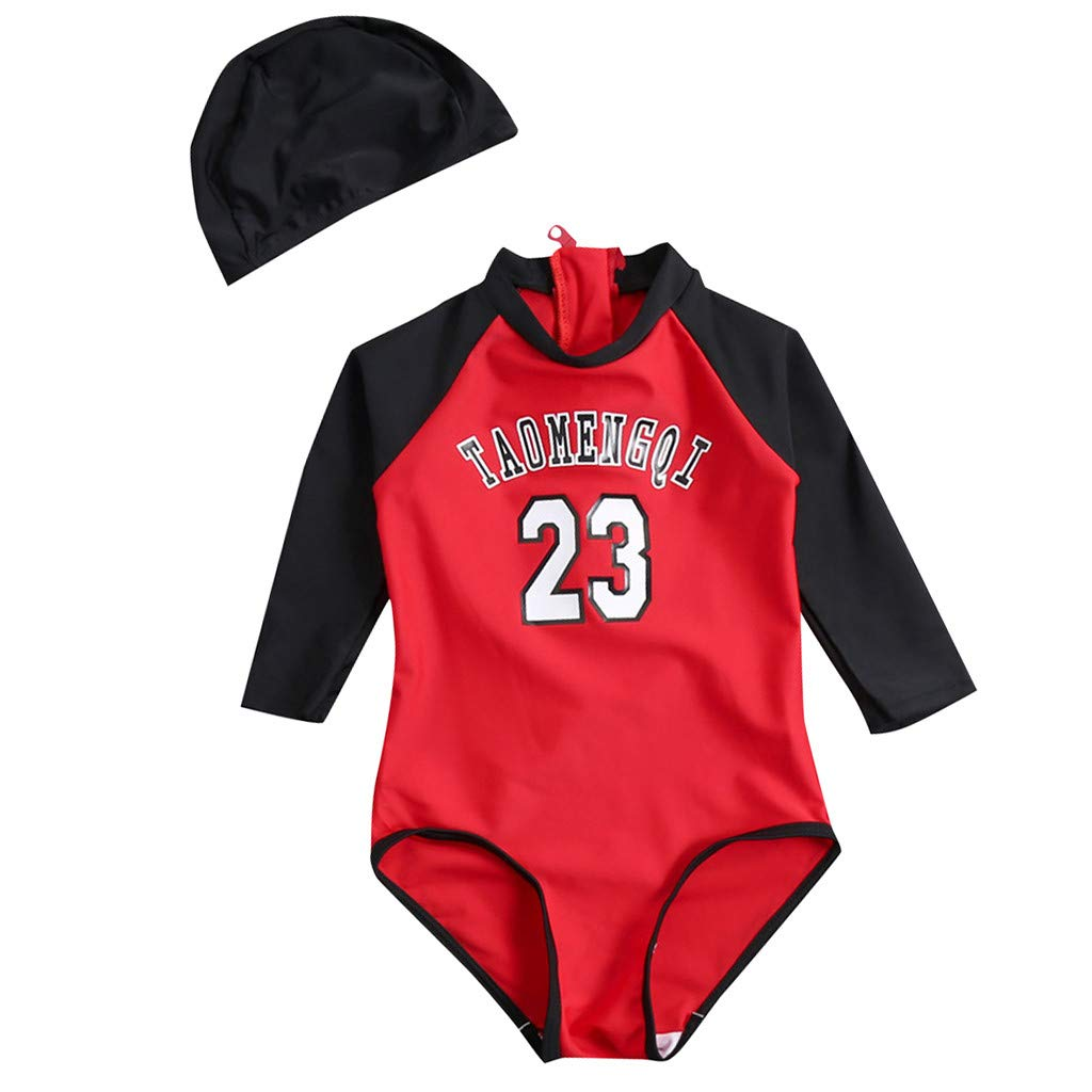 Jentouzz Kids Baby Boy Girl Letter 23 Number One Piece Loose Bathing Suit Beach Swimwear Hat Clothes Set