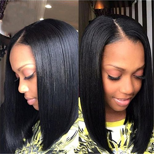 Search : Straight Short Black Color Middle Part American African Bob Wigs Hair For Black Women