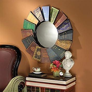 Design Toscano Lord Byron s Compendium of Books Metal Wall Mirror, Multicolor