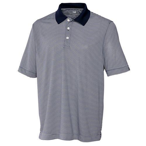 Cutter & Buck Men's CB Drytec Trevor Stripe Polo Shirt, Navy Blue/White, - 2014 Gifts Dad Top