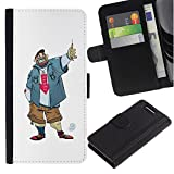 UPPERHAND ( Not For Regular Xperia Z1 ) Stylish Image Picture Black Leather Bags Cover Flip Wallet Credit Card Slots TPU Holder Case For Sony Xperia Z1 Compact D5503 - dude guy man criminal smile caricature