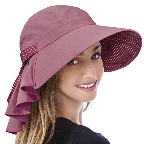 Tirrinia Ladies Wide Brim Sun Flap Cover Cap Adjustable Beach Gardening Hat Pink
