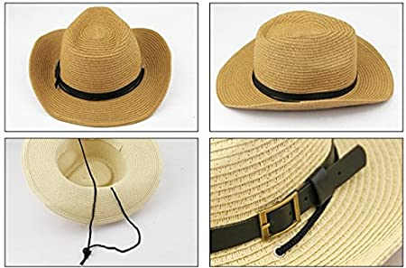 9b048a90 Amazon.com : Men's Floppy Packable Straw Hat Beach Cap Classic Western  Newsboy Cap Fedora Hat UPF 50+ Roll Up Foldable Large Brim Outback Sun Hat  with ...
