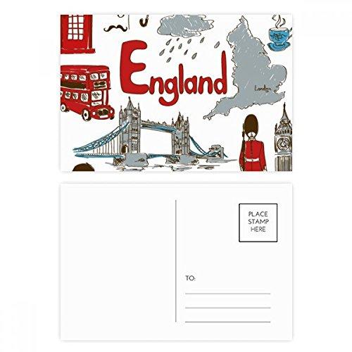 England Landscap Animals National Flag Postcard Set Birthday Thanks Card Mailing Side 20pcs by DIYthinker