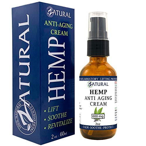 Hemp Anti Aging Cream 600mg - Premium Hemp Seed Oil - All Natural Advanced Formula for maximum results (600mg 2 Ounce)