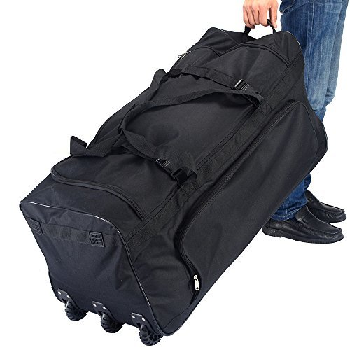 36-rolling-wheeled-duffle-bag-luggage-suitcase-travel-black-new