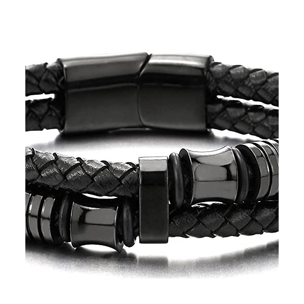 COOLSTEELANDBEYOND Mens Double-Row Black Braided Leather Bracelet Bangle Wristband with Black Stainless Steel Ornaments
