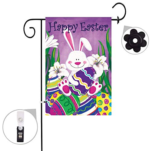 Pinata Easter Burlap Garden Flag Sets,Weather Resistant and Double Stitched, Double Sided Easter Bunny with Easter Eggs White Lilies Flags with a Rubber Stopper Stop and a Anti-Wind Clip,12