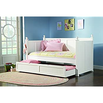 Amazoncom White Wooden Daybed with Trundle by Coaster Furniture