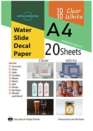 Horizon Glass Tumbler - Nova Horizon Mixed Waterslide Decal Paper for Inkjet Printer, 20 Sheets (10 White 10 Clear), A4 Size Water Slide Transfer Printable Paper