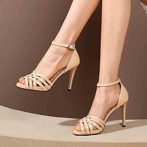 Yxiny cour Chaussures talons hauts Sandales femelle sexy Mode étanche plate-forme d'été 8.5cm Rouge/noir/Nude Couleur EU39/UK6/CN39 Nude Nude fTst5Vw