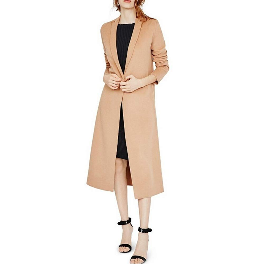 Ladies Windbreaker Coat Suit Collar Double Pocket Coat Coat Button Slim Fit Smooth Long Sleeve,XL