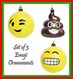 "Emoji Smiley Face 3"" Christmas Tree Ornament Balls Set of 4, Includes Pile of Poop Ornament"
