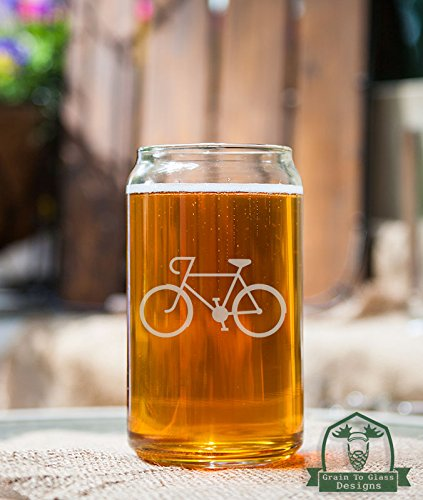 Cyclist Speed Bicycle Etched Glass 16 Ounce Beer Can Shaped Glassware Gift