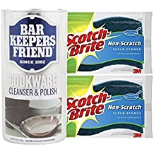 Bar Keepers Friend Cookware Cleanser & Polish 12 oz. Can With 2 Scotch Brite Non Scratch Sponges Multipurpose Cleaner