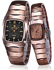 Binlun Hers and His Couple Pair Rose Red Tone Japanese Quartz Wrist Watch for Both Women and Men