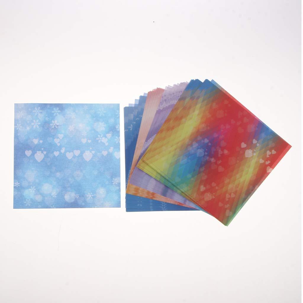 Fenteer 60pcs Origami Papier Couleur Vari/ét/é Carr/ée Pliable Imprim/é sur Un C/ôt/é 14,5 x 14,5 cm