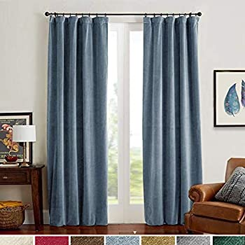 Lazzzy Velvet Curtains Dark Slate Blue Thermal Insulation Bedroom Rod Pocket Home Decor Curtain Panels 2 Panels 95 Inch