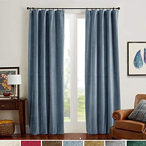 Velvet Curtains Dark Slate Blue Home Decor Super Soft Luxury Drapes for Bedroom 84 inch Long Window Curtain Panels Thermal Insulated Rod Pocket Single Panel 84L ()