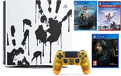 Newest Sony PlayStation 4 Pro 1TB Limited Edition Death Stranding Console Bundle W /Game :Horizon Zero Dawn Complete Edition Hits , God of War