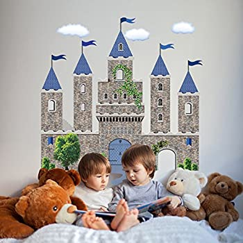 Large Stonewall Castle Blue Wall Decals Removable, Reusable Peel and Stick!