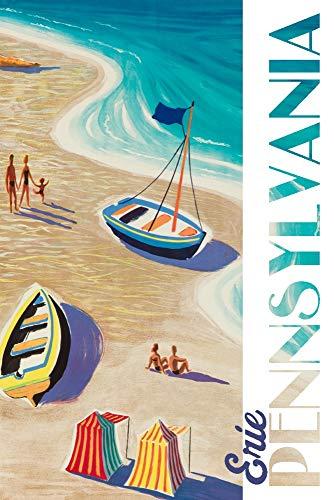(Erie, Pennsylvania - Beach Scene - Vintage Refurb 99700 (9x12 Art Print, Wall Decor Travel)
