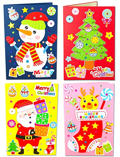 Mimgo-shop DIY Handmade Christmas Cards Making Kits with Envelopes, Paper Craft Christmas Greeting Cards Gifts for Children Including Santa, Snowman, Reindeer and Christmas Tree -