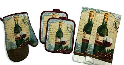 Marcheaux Vin Red Wine Bundle of 5 Kitchen Linen Oven Mitt (1) Pot Holders (2) Towels (2) (#4525) by American Mills