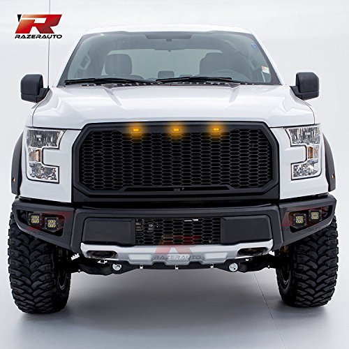 F150 Skid Plate - Razer Auto Black Front Bumper w/Silver Painted Skid Plate, w/4x LED Light & Brackets for 15-17 Ford F150