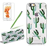 Slim Clear Case Cover For Iphone 6 6S, Girlyard Desert Plants Green Cactus Pattern Transparent Soft Silicone TPU Case Cover Ultra Thin Crystal Clear Non-Slip Protective Back Case Cover