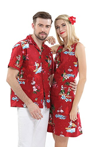 Couple Matching Hawaiian Luau Cruise Christmas Outfit Shirt Dress Santa Red Men 2XL Women XL (Outfits Christmas Photos Family)