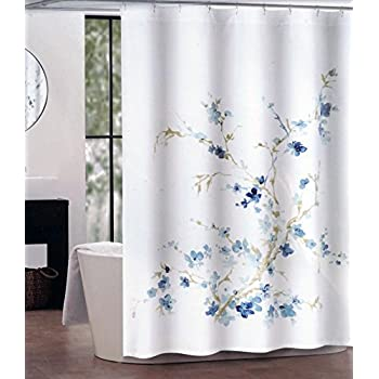 Tahari Fabric Shower Curtain Dark and Light Blue Floral Pattern with Beige Branches Printemps by Tahari Home