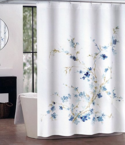 Light Blue Floral Pattern (Tahari Fabric Shower Curtain Dark and Light Blue Floral Pattern with Beige Branches Printemps by Tahari Home)