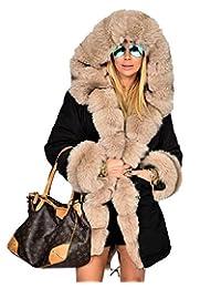 Roiii Lady Women Thicken Warm Winter Coat Hood Parka Overcoat Long Jacket Outwear